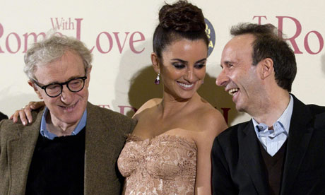 Woody Allen, Penelope Cruz and Roberto Benigni at the To Rome With Love premiere