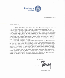 terry malick letter