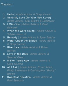 adele tracklist with writers