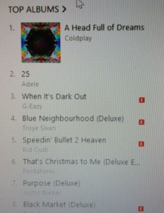 itunes adele coldplay
