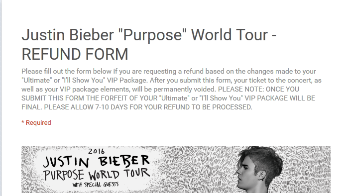 Justin bieber incites public relations nightmare over cancelled justinbieberpurposeworldtour refundform 2016 03 26213016 m4hsunfo