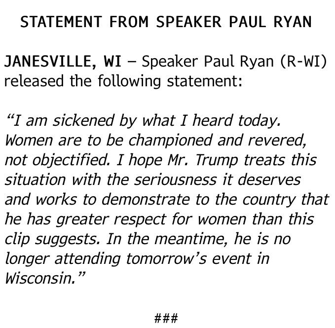 paul ryan statement