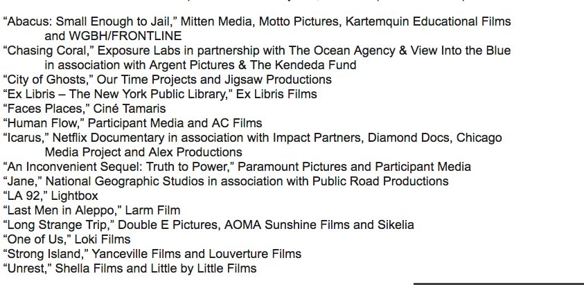 documentary short list